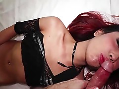 Many then puts her legs over her head to give a nice view of her tight asshole. She frots our cocks together and then starts sucking my cock on her back. I lie back on the bed for Many to treat me to more sucking and then gives me an ass licking. She then