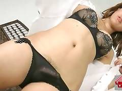 Naughty Asian she-male Kareema is stripping for your joy.