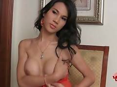 Lovely Asian t-girl Ice fleshes her awesome big tits.