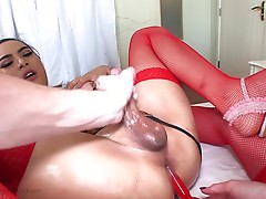 It`s a Toy Story in LadyboyGold fashion. A pretty ladyboy named Kartoon loves to be in her room, getting her puffy ass stuffed with toys and buttplugs. Horny Kartoon invites TS star Jonelle Brooks and a handsome farang to join in her room for a sexy three