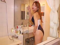 A foxy brunette with a thick cock and a lovely pair of high beams, Miki never fails to deliver the goods in her performances and today`s sizzling bathroom solo is no exception.