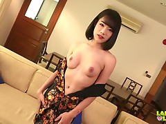 We have a returning hottie here in Ladyboy-Ladyboy stage and she seems shy and sweet, but she is anything. As she strips off her dress to reveal her tight body and great tits, she eagerly plays with her tits and teases you with her crotch. Her panties com