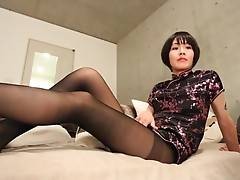 She parts her lovely legs and treats us to some mouth-watering shots of her excited she-cock caged within her sheer pantyhose before stripping down and submissively vying for our attention on her crisp cotton bedsheets.