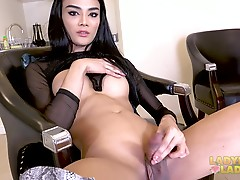 This super sexy ladydoy from Pattaya is to die for. She is simply stunning. The amazing beauty of this newly found Grooby girl can stir anyone�s imagination. Her big titties, nice long legs and gorgeous cock are sweet, lovely and tempting. Watch her as sh